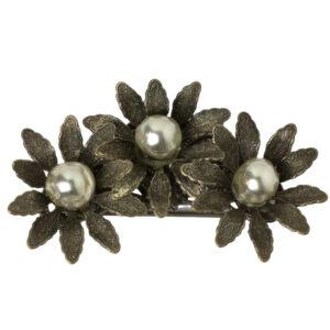 Miriam Haskell 1950s grey pearl flower brooch