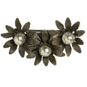 Grey pearl flower brooch by Miriam Haskell