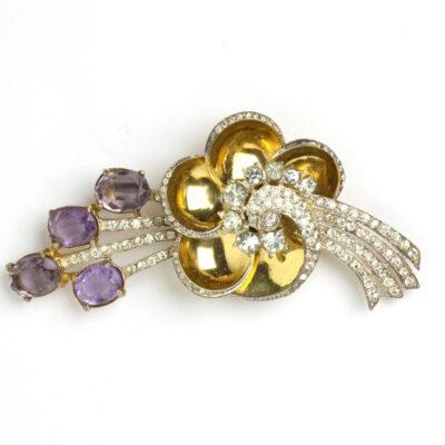 1940s Corocraft brooch with amethyst & diamante