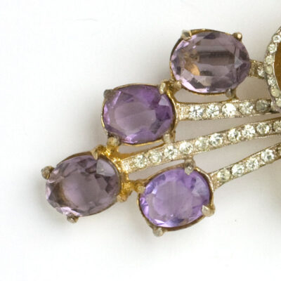 Close-up view of faceted amethyst stones
