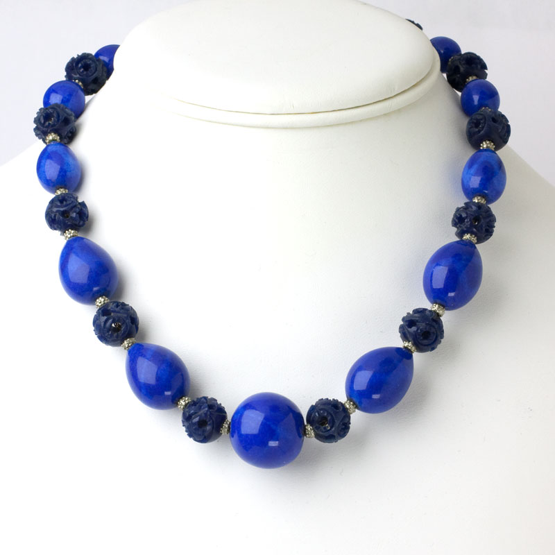 French Art Deco necklace with lapis beads