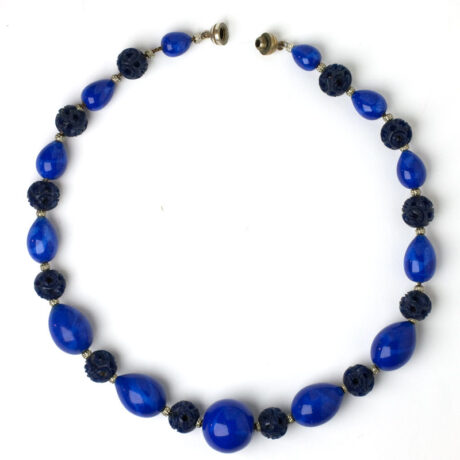 Lapis & celluloid bead 1930s French necklace