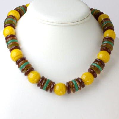 Vintage yellow bead necklace from France
