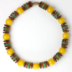 Yellow beads with colorful glass disk spacers