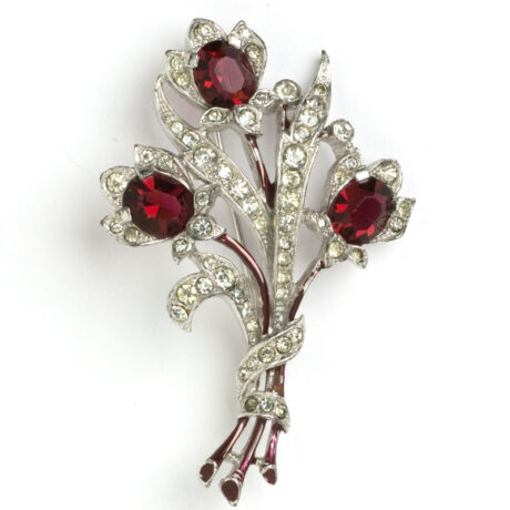 Trifari bouquet brooch with enamel & ruby flowers