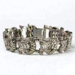 Sterling silver & marcasite Art Deco buckle bracelet