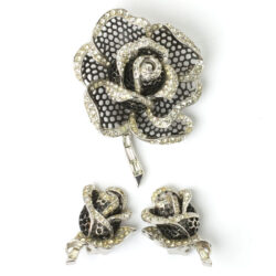 Vintage rose brooch and earrings by Marcel Boucher