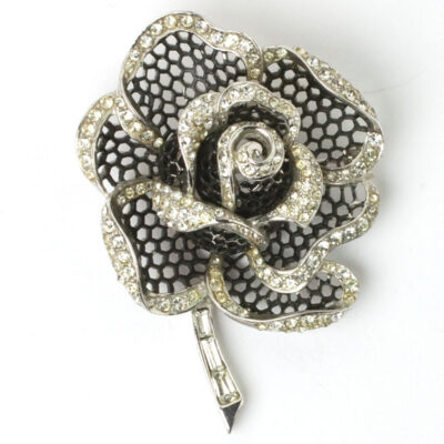 Black enamel & diamante rose brooch