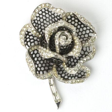 Black enamel & diamante rose brooch
