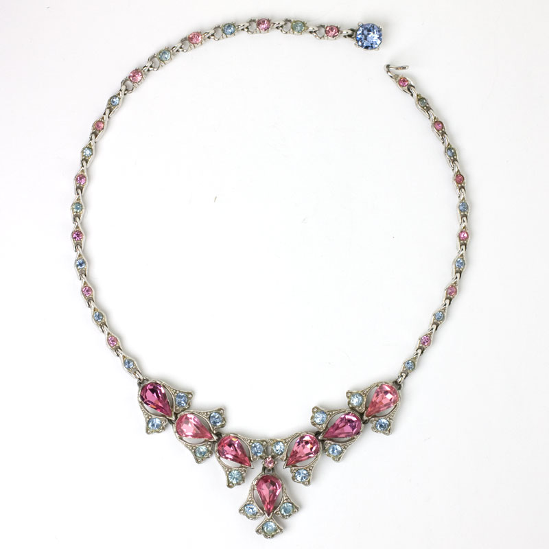 1950s Bogoff necklace with pink tourmaline and alexandrite