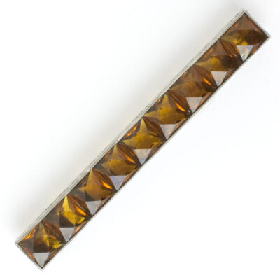 Art Deco bar pin with golden topaz in sterling