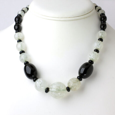 1930s French necklace w/black & white-marbled glass beads