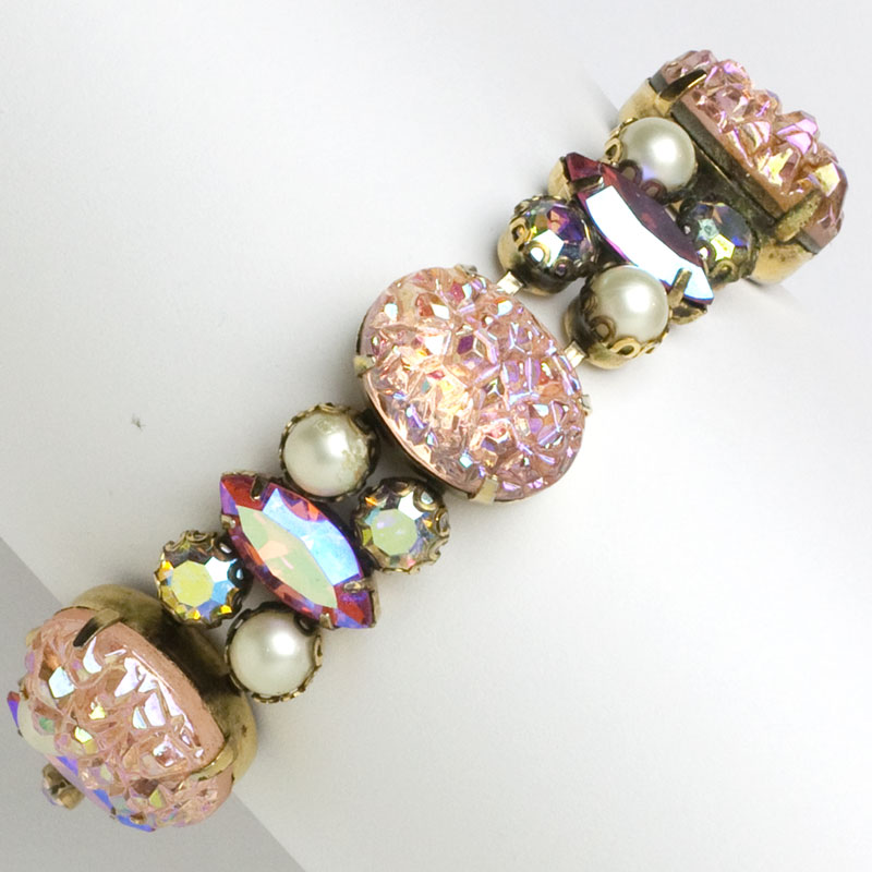 Schiaparelli lava rock bracelet with shocking pink, pearls & diamante
