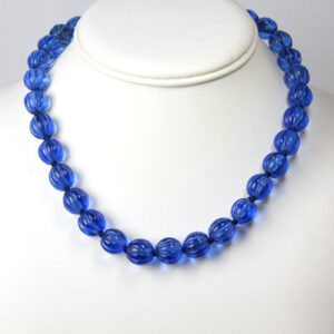 Melon bead necklace in deep-sapphire-blue