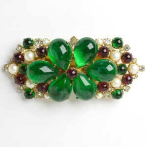 Emerald, ruby, pearl, diamante, double-clip brooch