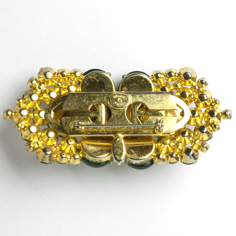 View of back of double clip brooch