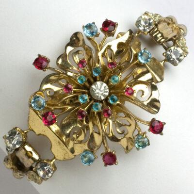 Jewel flower corsage bracelet w/gold double snake chain