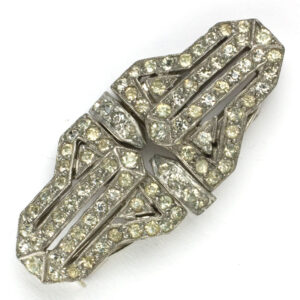 French brooch or pair of dress clips in diamante