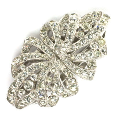 Trifari costume jewelry – double-clip brooch with diamanté ribbons