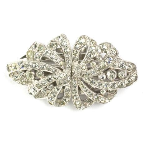 Diamanté ribbon Art Deco Clip-Mate by Trifari