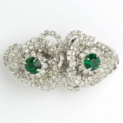 Sparkly brooch w/emeralds & diamanté by Hattie Carnegie