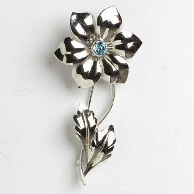 Scandinavian vintage silver brooch with aqua center