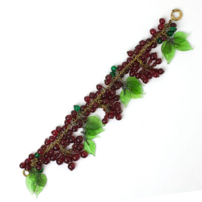 European dangling bracelet with clusters of beads & leaves