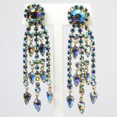 Aurora borealis earrings with sapphire-blue stone