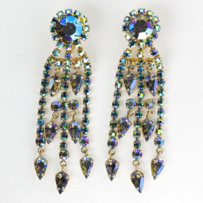 1950s chandelier earrings w/iridescent blue stones