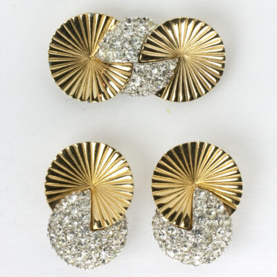 Gold disk earrings and brooch w/pavé by Pennino Bros.