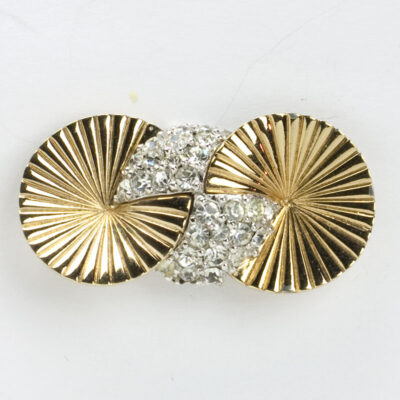 Gold disk & diamante brooch