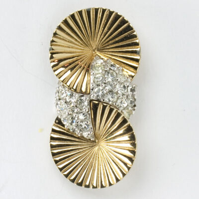 Gold disk & pave brooch in vertical