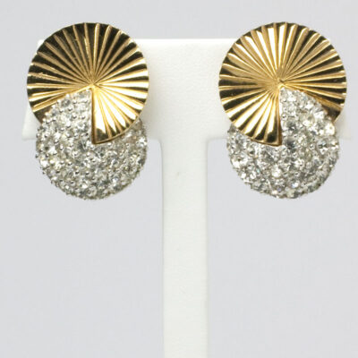 Gold disk and pave earrings