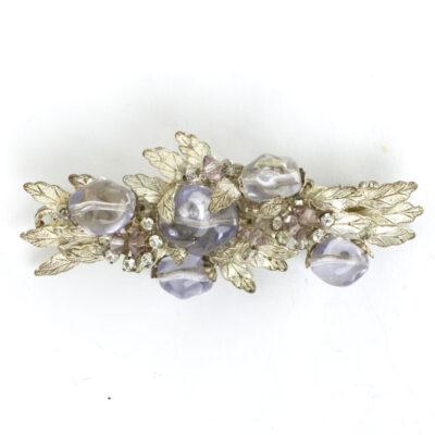 Silver leaf brooch with amethyst & diamante