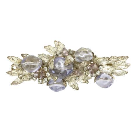 Silver leaf brooch with amethyst & diamantes