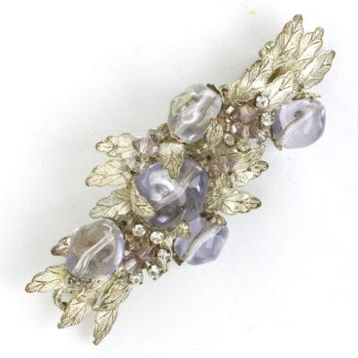 Miriam Haskell amethyst & diamante silver leaf brooch