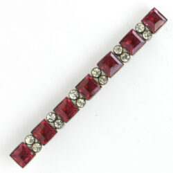 Red glass brooch with diamanté in sterling