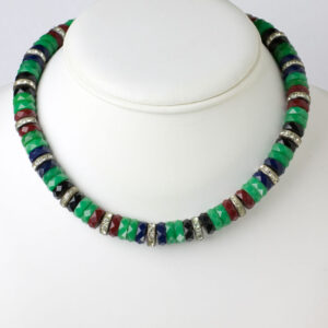 Statement choker necklace with red, black, green & diamanté disks