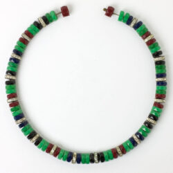Front view of necklace w/faceted, colorful disks