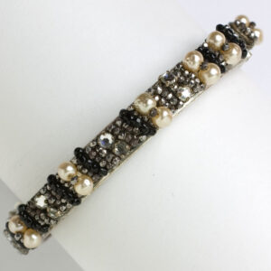 Pearl bangle bracelet w/diamanté & hematite & onyx beads