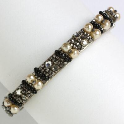 Pearl bangle bracelet w/diamanté & hematite & onyx beads