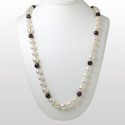 Baroque Pearl and Amethyst Bead Miriam Haskell Necklace