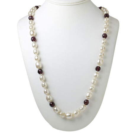Miriam Haskell pearl necklace with amethyst beads