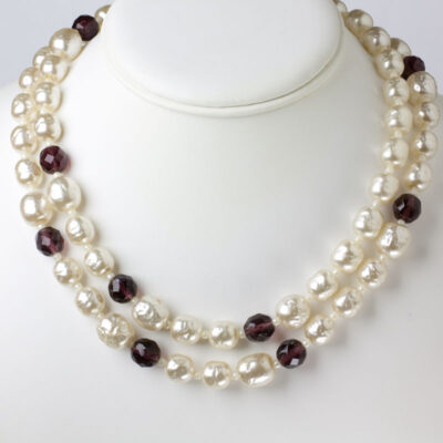 Miriam Haskell pearl necklace with amethysts, doubled