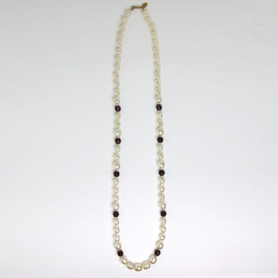 Baroque pearl & amethyst bead 1970s necklace