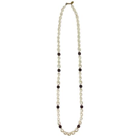 Baroque pearl & amethyst bead 1970s necklace