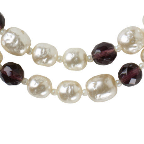 Close-up view of baroque pearls & amethyst beads