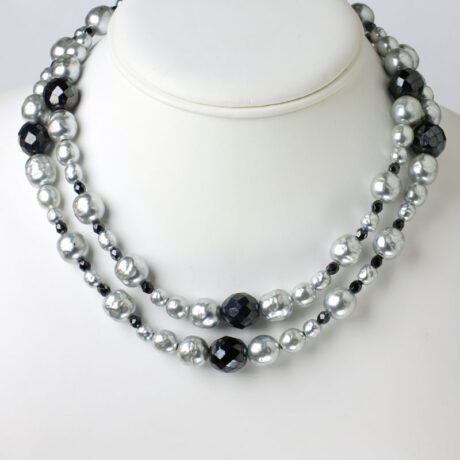 Grey pearl & onyx bead necklace worn doubled