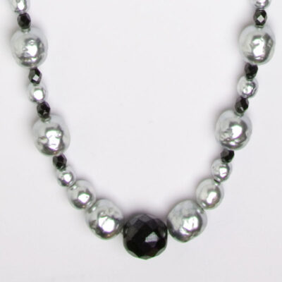 Grey Pearl and Onyx Bead Long Miriam Haskell Necklace