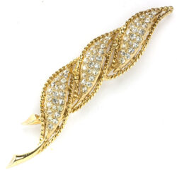 Gold leaf brooch with diamanté